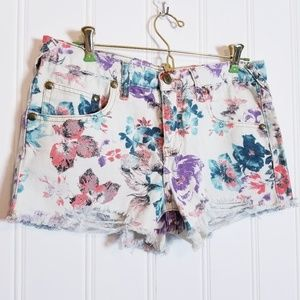 Free People Floral Cut Off Shorts